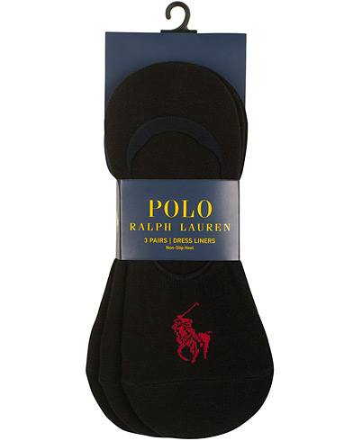 Polo Ralph Lauren 3-Pack No Show Big Pony Pony Socks Black i gruppen Klær / Undertøy / Sokker / Ankelsokker hos Care of Carl (15608110)
