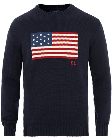 Polo Ralph Lauren Knitted Flag Crew Neck Navy i gruppen Klær / Gensere / Strikkede gensere hos Care of Carl (15610411r)