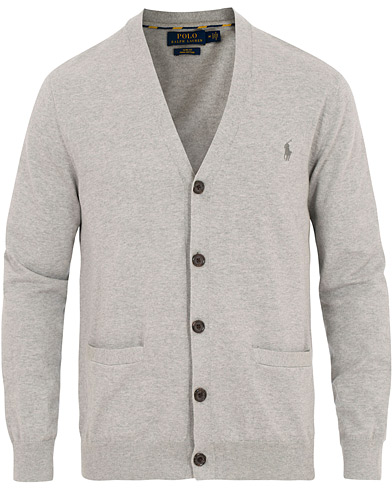 Polo Ralph Lauren Pima Cotton Cardigan Andover Heather i gruppen Klær / Gensere / Cardigans hos Care of Carl (15613711r)