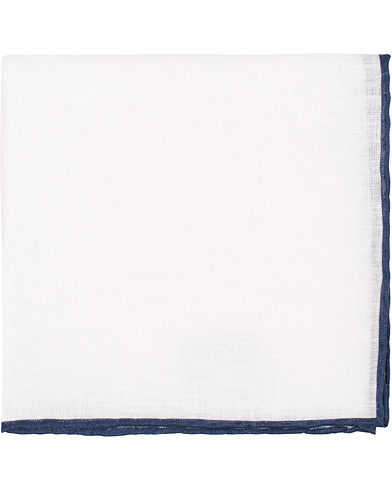 Amanda Christensen Linen Melange Handrolled Pocket Square Blue/White