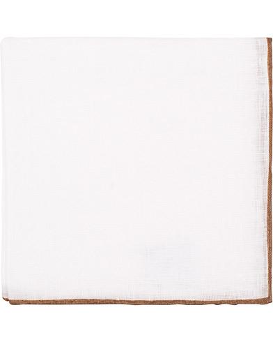 Amanda Christensen Linen Melange Handrolled Pocket Square Brown/White