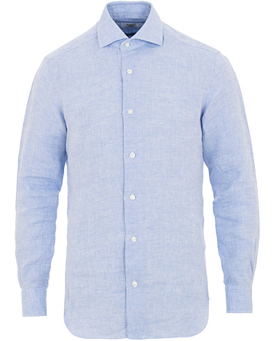 Barba Napoli Culto Slim Fit Linen Shirt Blue i gruppen Klær / Skjorter / Casual / Linskjorter hos Care of Carl (15655711r)