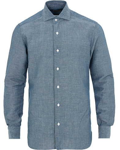 Barba Napoli Dandylife Slim Fit Chambray Shirt Blue