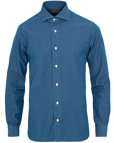 Barba Napoli Dandylife Slim Fit Denim Shirt Indigo
