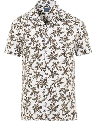 Barba Napoli Short Sleeve Linen Palmtree Camp Collar Shirt White
