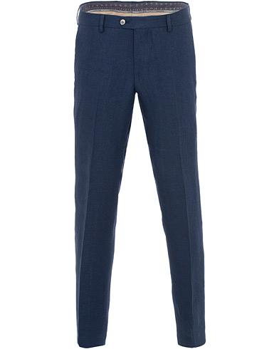 Oscar Jacobson Diego Linen Trousers Blue