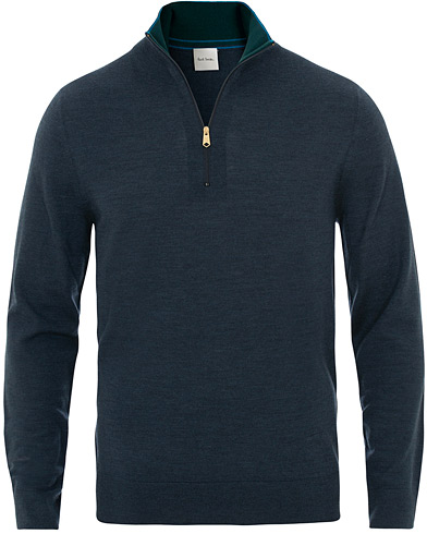 Paul Smith Half Zip Merino Sweater Racing Blue i gruppen Klær / Gensere / Zip-gensere hos Care of Carl (15694311r)