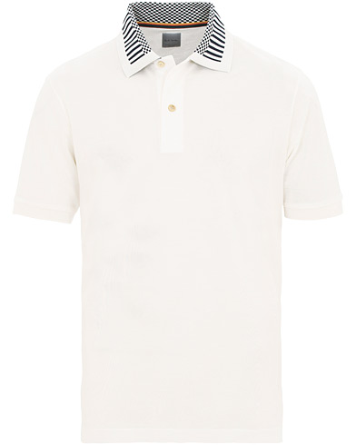 Paul Smith Checked Flag Collar Polo White i gruppen Klær / Pikéer / Kortermet piké hos Care of Carl (15695111r)