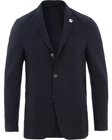 Lardini Unlined Seersucker Patch Pocket Shirt Blazer Navy i gruppen Klær / Dressjakker / Enkeltspente dressjakker hos Care of Carl (15717111r)