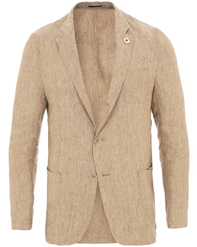 Lardini Unlined Linen Patch Pocket Shirt  Blazer Beige i gruppen Klær / Dressjakker / Enkeltspente dressjakker hos Care of Carl (15717211r)