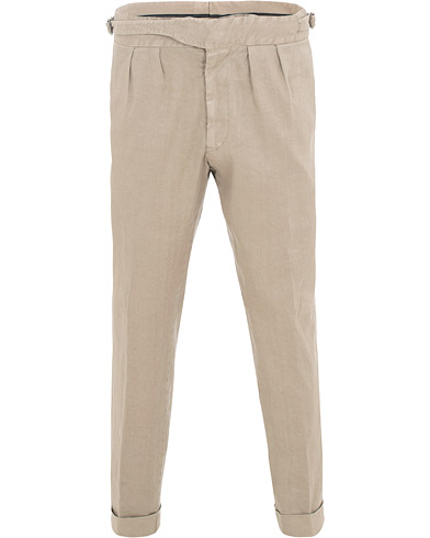 Lardini Double Pleated Linen Cotton Trousers Beige