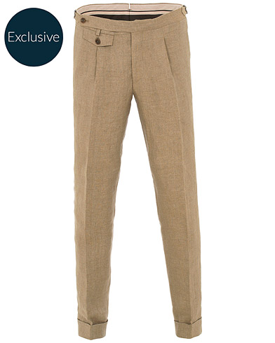 Morris Heritage Jason Pleated Turn Up Linen Trousers Camel