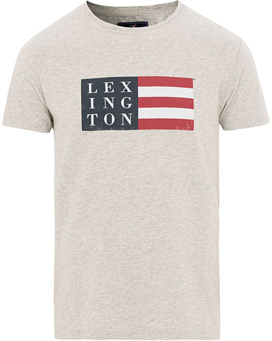 Lexington Simon Flag Crew Neck Tee Grey Melange i gruppen Klær / T-Shirts / Kortermede t-shirts hos Care of Carl (15735411r)
