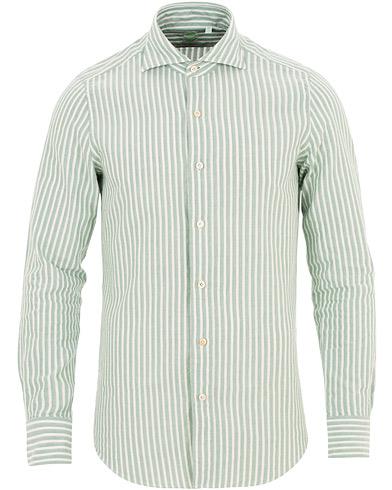 Finamore Napoli Tokyo Cotton/Linen Striped Shirt Green/White