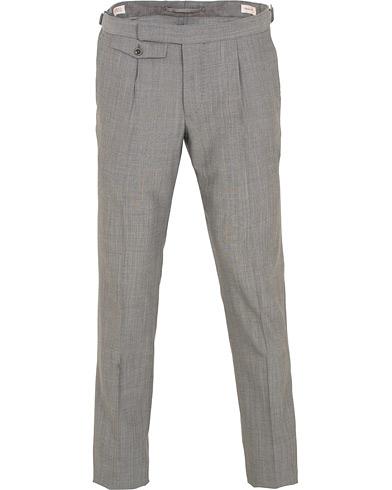 Incotex Slim Fit Pleated Super 130's Wool Trousers Light Grey