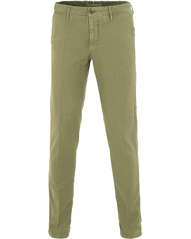 Incotex Slim Fit Cotton/Linen Slacks Olive i gruppen Klær / Bukser / Linbukser hos Care of Carl (15764811r)