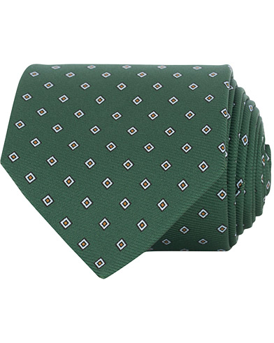 Drake's Navy Tip Silk 50oz Foulard 8 cm Tie Green  i gruppen Assesoarer / Slips hos Care of Carl (15770310)