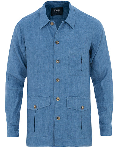 Drake's Linen Shacket Chambray i gruppen Klær / Skjorter / Casual / Overshirts hos Care of Carl (15777311r)