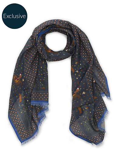 Drake's MTO Wool/Silk Printed Scarf Navy  i gruppen Assesoarer / Scarves hos Care of Carl (15778610)