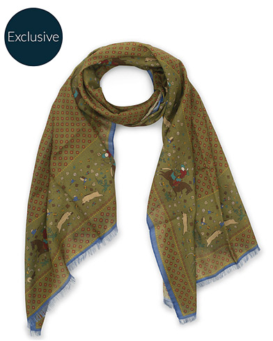 Drake's MTO Wool/Silk Printed Scarf Green  i gruppen Assesoarer / Scarves hos Care of Carl (15778710)