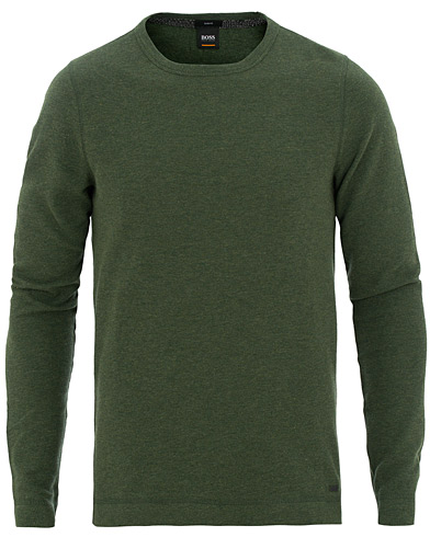 BOSS Casual Tempest Waffle Long Sleeve Sweater Army Green i gruppen Klær / Gensere / Strikkede gensere hos Care of Carl (15806611r)