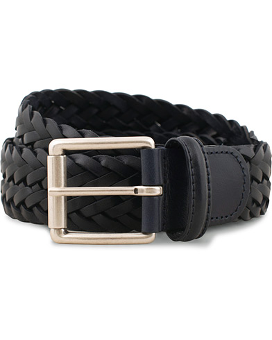 Anderson's Woven Leather 3,5 cm Belt Navy i gruppen Assesoarer / Belter / Flettede belter hos Care of Carl (15811811r)