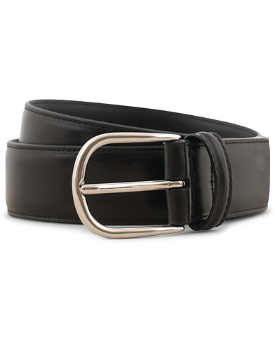 Anderson's Calf Leather 3,5 cm Belt Black i gruppen Assesoarer / Belter / Umønstrede belter hos Care of Carl (15811911r)
