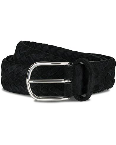 Anderson's Woven Suede 3,5 cm Belt Black