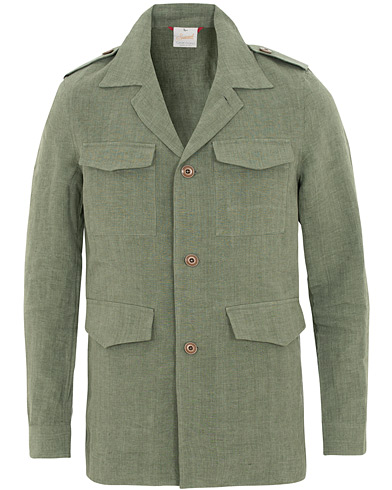 Gran Sasso Safari Linen Jacket Green i gruppen Klær / Skjorter / Casual / Overshirts hos Care of Carl (15821511r)