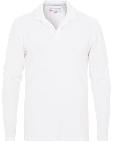 Orlebar Brown Terry Long Sleeve Polo White i gruppen Klær / Pikéer / Langermet piké hos Care of Carl (15830811r)