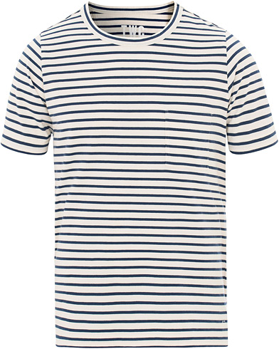 The Workers Club Stripe Crew Neck Tee Navy/White i gruppen Klær / T-Shirts / Kortermede t-shirts hos Care of Carl (15835311r)