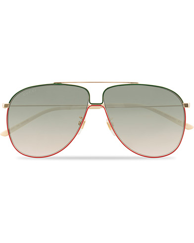 GUCCI GG0440S Sunglasses Gold/Green  i gruppen Assesoarer / Solbriller hos Care of Carl (15860510)