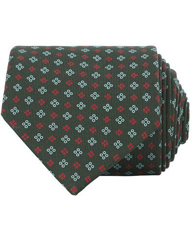 E. Marinella 3-Fold Micro Fantasy 8 cm Silk Tie Dark Green