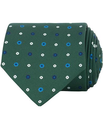 E. Marinella 3-Fold Micro Fantasy 8 cm Silk Tie Green