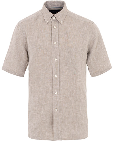 Eton Slim Fit Linen Short Sleeve Shirt Light Brown i gruppen Klær / Skjorter / Casual hos Care of Carl (16012211r)