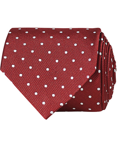 Amanda Christensen Dot Classic Tie 8 cm Wine/White  i gruppen Assesoarer / Slips hos Care of Carl (16022710)