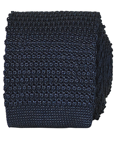 Amanda Christensen Knitted Silk Tie 6 cm Navy  i gruppen Assesoarer / Slips hos Care of Carl (16023210)