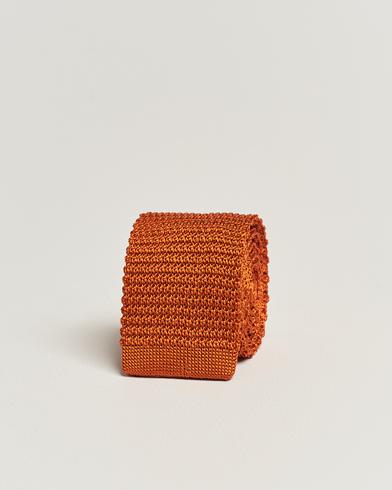 Amanda Christensen Knitted Silk Tie 6 cm Orange