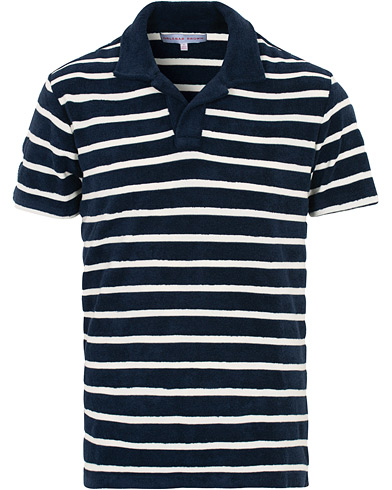 Orlebar Brown Terry Hudson Towelling Stripe Polo Navy/Shell
