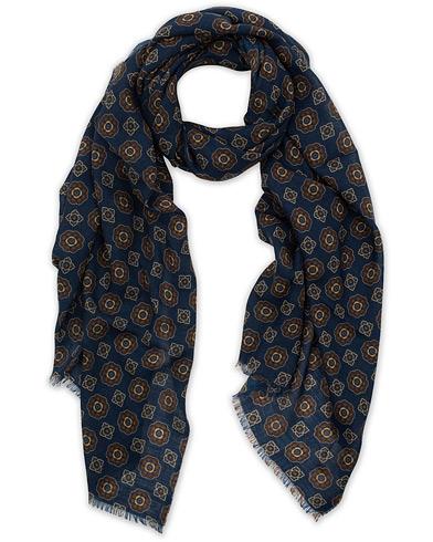 Altea Medallion Printed Wool Scarf Blue