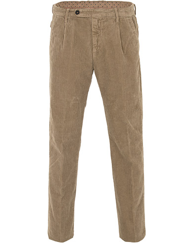 Massimo Alba Ionio Single Pleated Corduroy Trousers Khaki