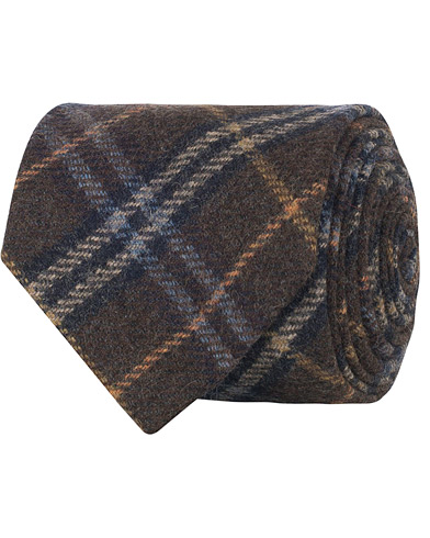 Amanda Christensen Woven Wool Checked Tie 8 cm Brown  i gruppen Assesoarer / Slips hos Care of Carl (16100210)
