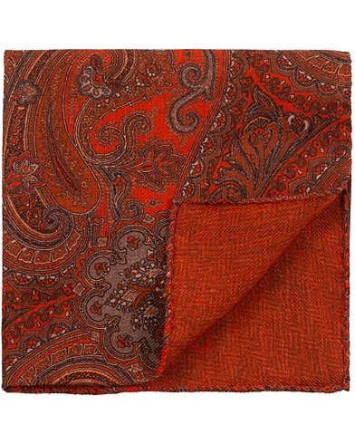 Amanda Christensen Wool Doublefaced Printed Paisley Pocket Square Rust  i gruppen Assesoarer / Lommetørklær hos Care of Carl (16100910)