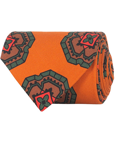 Drake's Silk Printed Large Medallion Tie 8 cm Orange  i gruppen Assesoarer / Slips hos Care of Carl (16103210)