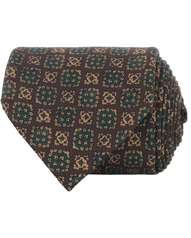 Drake's Wool Printed Tie 8 cm Brown  i gruppen Assesoarer / Slips hos Care of Carl (16104010)