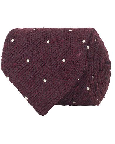 Drake's Woven Silk Grenadine Dot Tie 8 cm Wine