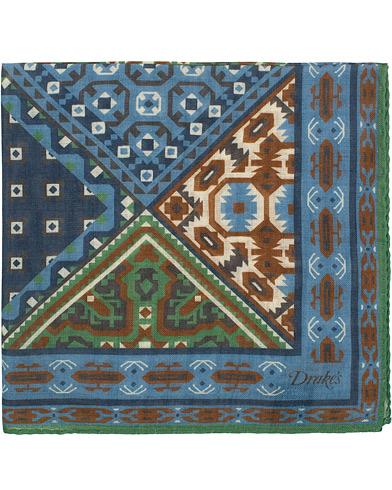 Drake's Wool/Silk Prited Pocket Square Blue