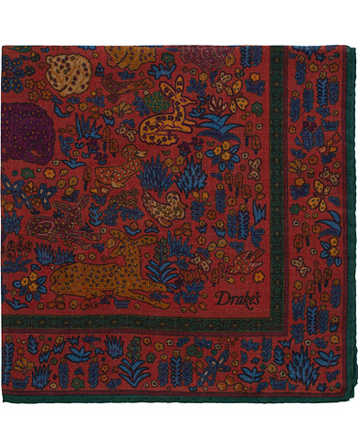 Drake's Wool/Silk Printed Duck Pocket Square Red  i gruppen Assesoarer / Lommetørklær hos Care of Carl (16107210)
