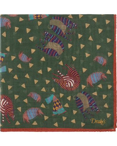 Drake's Wool/Silk Printed Amarillo Pocket Square Brown
