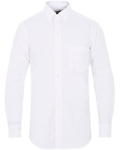 Drake's Slim Fit Button Down Shirt White